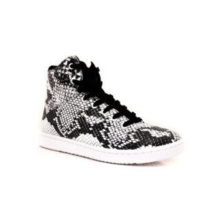 Woden Jane Boot Black White Snake hi tops sneakers